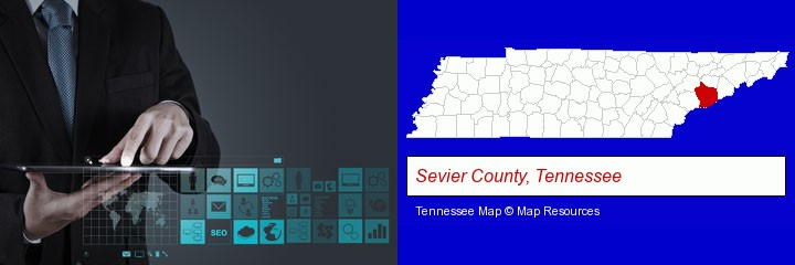 information technology concepts; Sevier County, Tennessee highlighted in red on a map