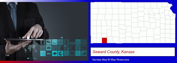 information technology concepts; Seward County, Kansas highlighted in red on a map