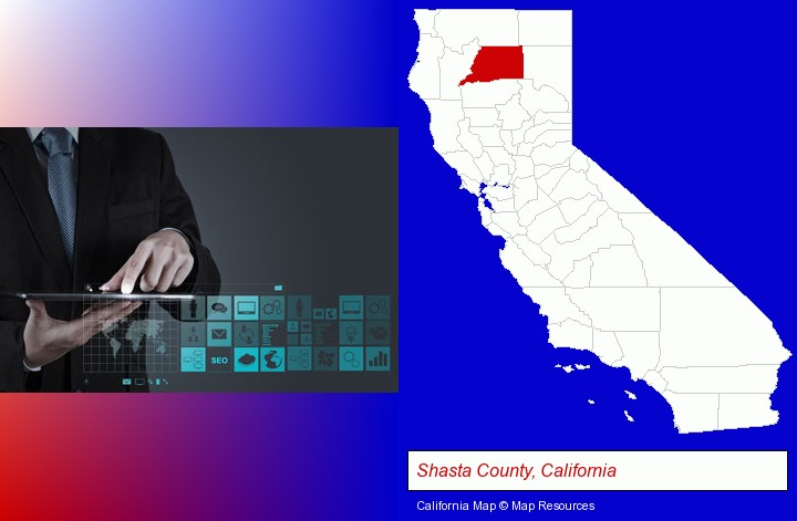information technology concepts; Shasta County, California highlighted in red on a map