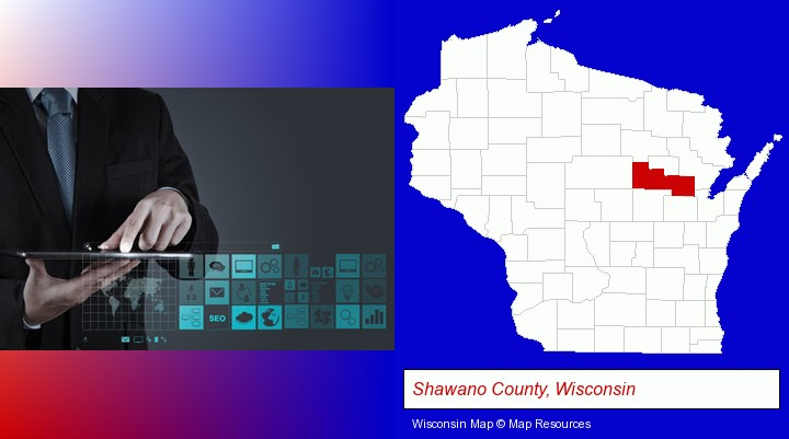 information technology concepts; Shawano County, Wisconsin highlighted in red on a map