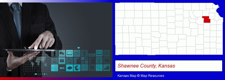 information technology concepts; Shawnee County, Kansas highlighted in red on a map