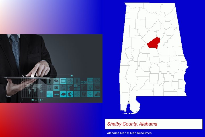 information technology concepts; Shelby County, Alabama highlighted in red on a map