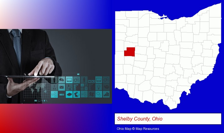 information technology concepts; Shelby County, Ohio highlighted in red on a map