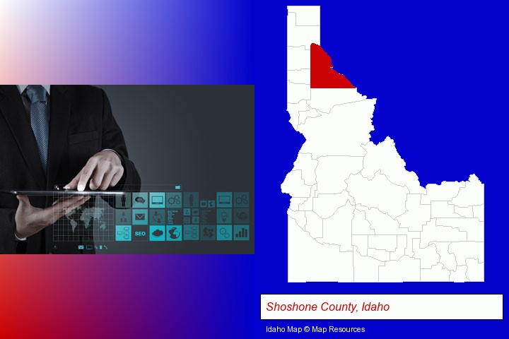 information technology concepts; Shoshone County, Idaho highlighted in red on a map