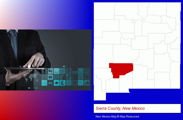 information technology concepts; Sierra County, New Mexico highlighted in red on a map
