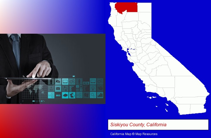 information technology concepts; Siskiyou County, California highlighted in red on a map
