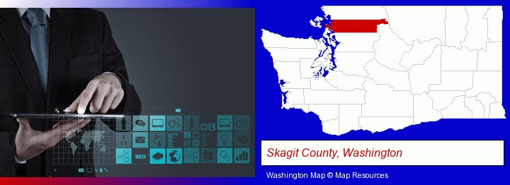 information technology concepts; Skagit County, Washington highlighted in red on a map