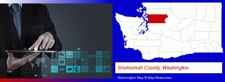 information technology concepts; Snohomish County, Washington highlighted in red on a map