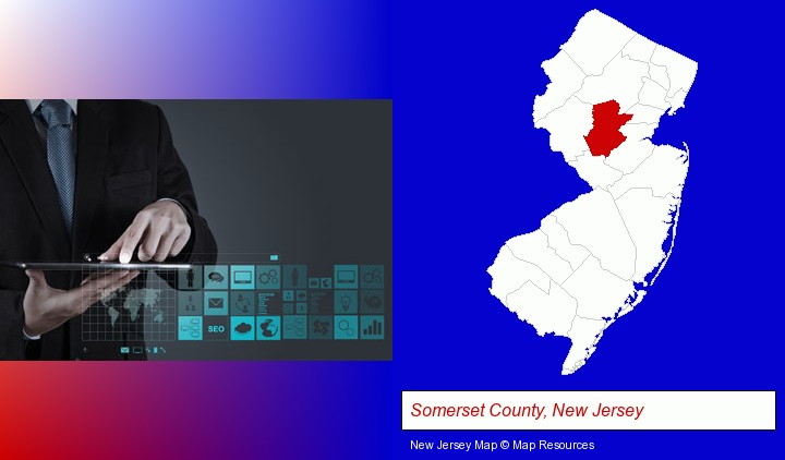 information technology concepts; Somerset County, New Jersey highlighted in red on a map