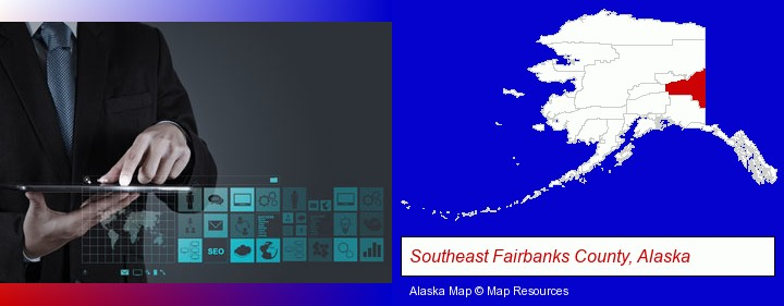 information technology concepts; Southeast Fairbanks County, Alaska highlighted in red on a map