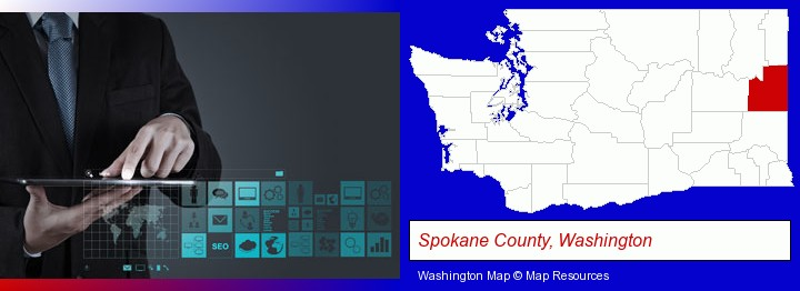 information technology concepts; Spokane County, Washington highlighted in red on a map