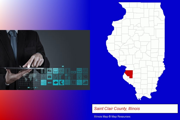 information technology concepts; Saint Clair County, Illinois highlighted in red on a map