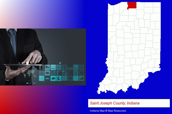 information technology concepts; Saint Joseph County, Indiana highlighted in red on a map