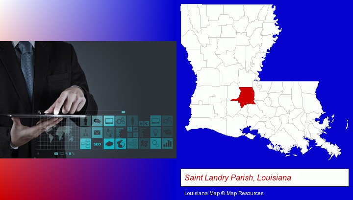 information technology concepts; Saint Landry Parish, Louisiana highlighted in red on a map