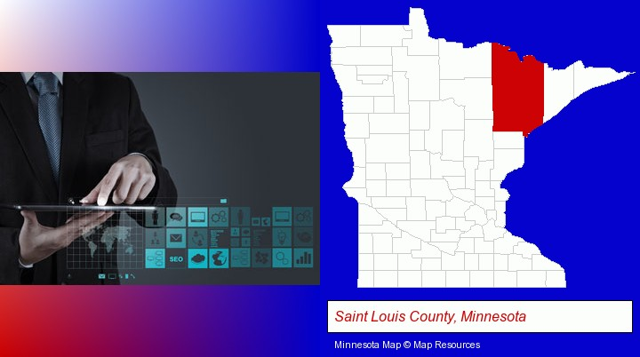 information technology concepts; Saint Louis County, Minnesota highlighted in red on a map