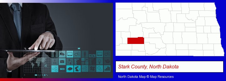 information technology concepts; Stark County, North Dakota highlighted in red on a map