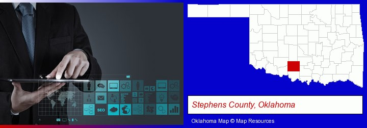 information technology concepts; Stephens County, Oklahoma highlighted in red on a map
