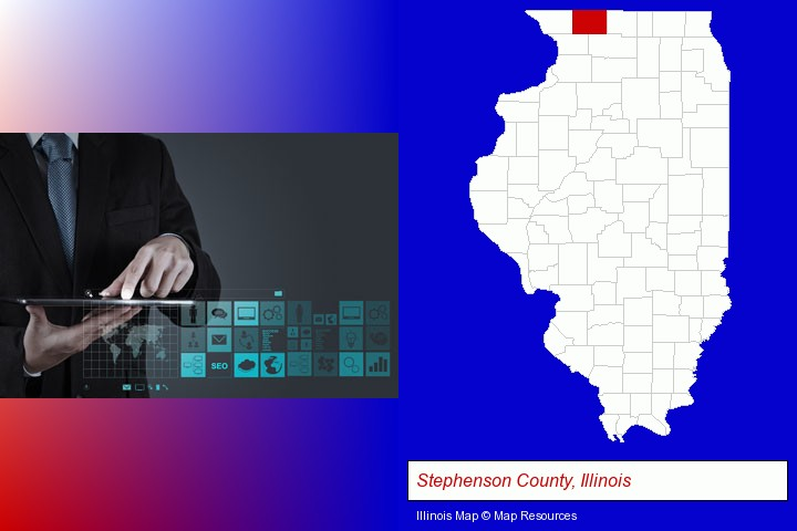 information technology concepts; Stephenson County, Illinois highlighted in red on a map