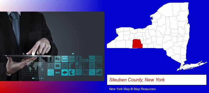 information technology concepts; Steuben County, New York highlighted in red on a map