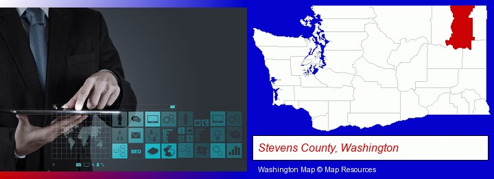 information technology concepts; Stevens County, Washington highlighted in red on a map