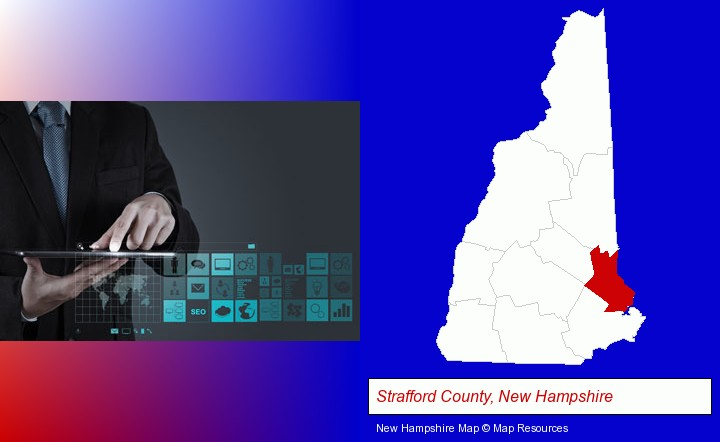 information technology concepts; Strafford County, New Hampshire highlighted in red on a map