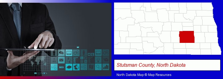 information technology concepts; Stutsman County, North Dakota highlighted in red on a map