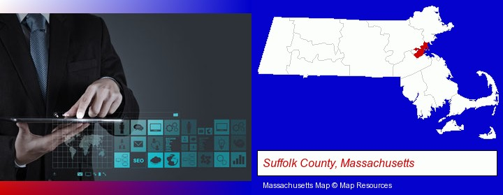 information technology concepts; Suffolk County, Massachusetts highlighted in red on a map
