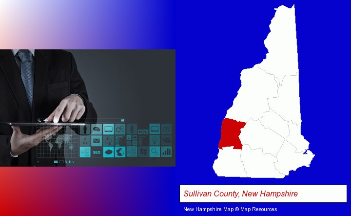 information technology concepts; Sullivan County, New Hampshire highlighted in red on a map