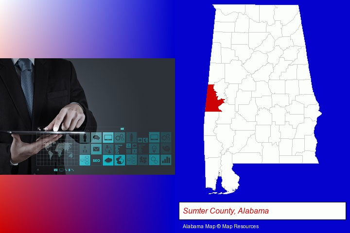 information technology concepts; Sumter County, Alabama highlighted in red on a map