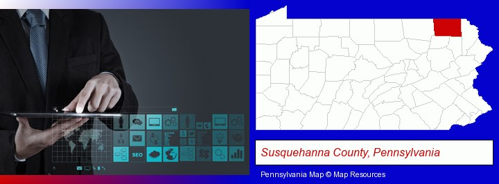 information technology concepts; Susquehanna County, Pennsylvania highlighted in red on a map