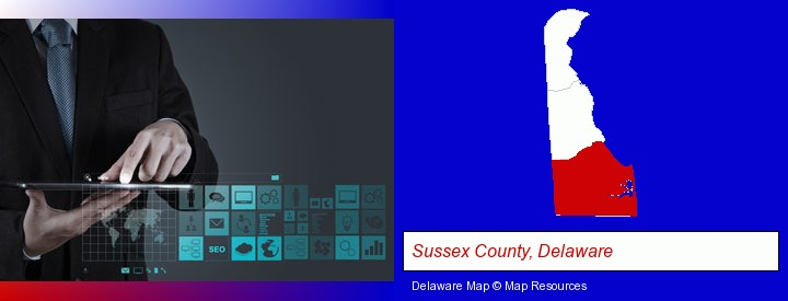 information technology concepts; Sussex County, Delaware highlighted in red on a map