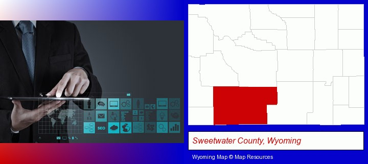 information technology concepts; Sweetwater County, Wyoming highlighted in red on a map