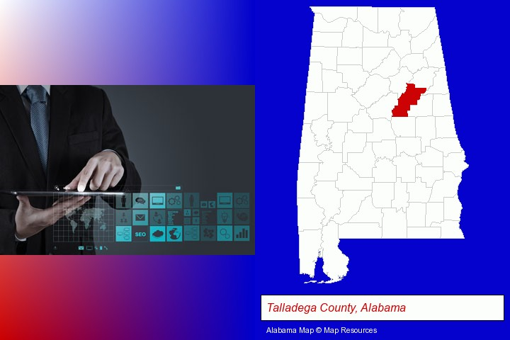 information technology concepts; Talladega County, Alabama highlighted in red on a map