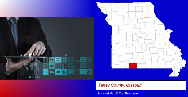 information technology concepts; Taney County, Missouri highlighted in red on a map