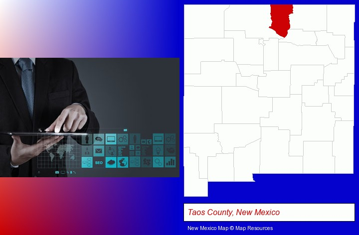 information technology concepts; Taos County, New Mexico highlighted in red on a map