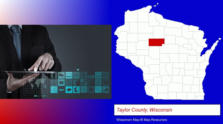information technology concepts; Taylor County, Wisconsin highlighted in red on a map