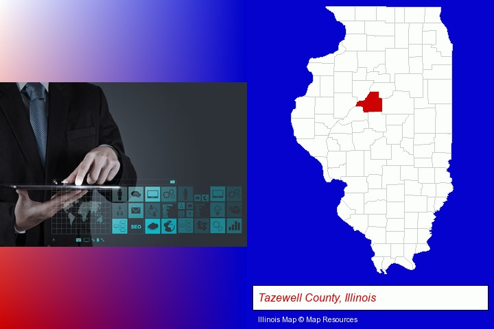 information technology concepts; Tazewell County, Illinois highlighted in red on a map