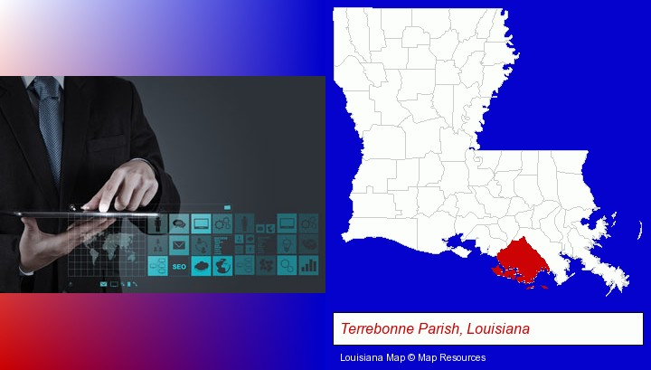 information technology concepts; Terrebonne Parish, Louisiana highlighted in red on a map