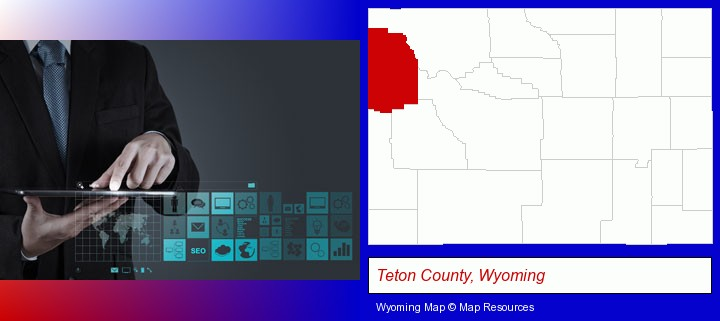 information technology concepts; Teton County, Wyoming highlighted in red on a map