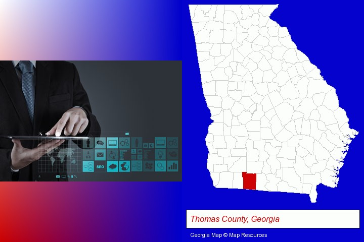 information technology concepts; Thomas County, Georgia highlighted in red on a map