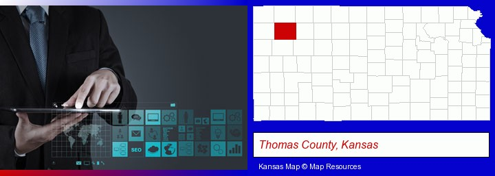 information technology concepts; Thomas County, Kansas highlighted in red on a map