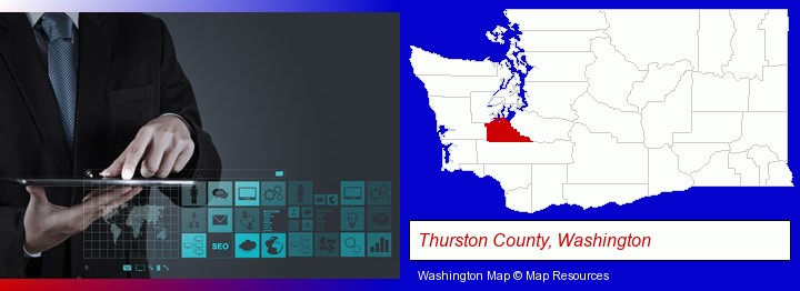 information technology concepts; Thurston County, Washington highlighted in red on a map