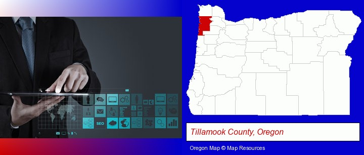 information technology concepts; Tillamook County, Oregon highlighted in red on a map