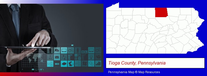 information technology concepts; Tioga County, Pennsylvania highlighted in red on a map