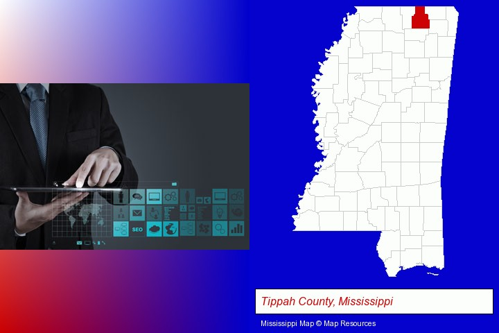 information technology concepts; Tippah County, Mississippi highlighted in red on a map