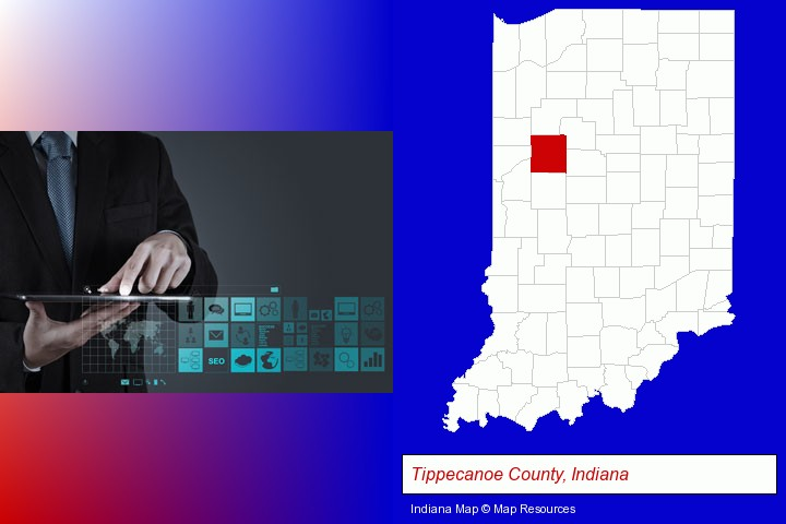information technology concepts; Tippecanoe County, Indiana highlighted in red on a map