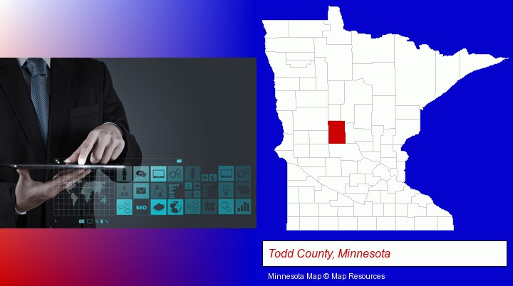information technology concepts; Todd County, Minnesota highlighted in red on a map