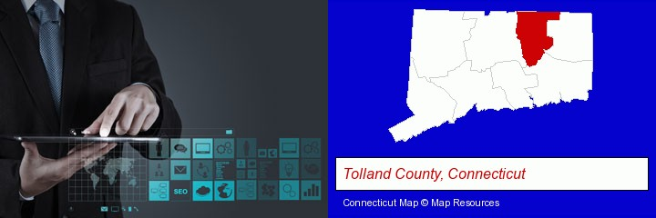 information technology concepts; Tolland County, Connecticut highlighted in red on a map