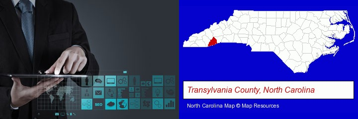 information technology concepts; Transylvania County, North Carolina highlighted in red on a map