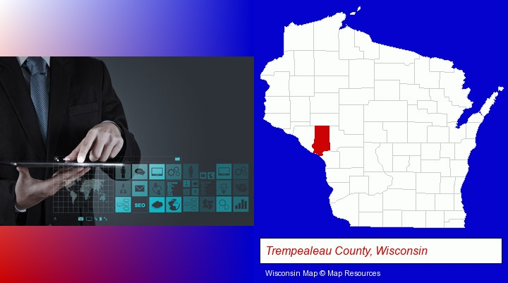 information technology concepts; Trempealeau County, Wisconsin highlighted in red on a map